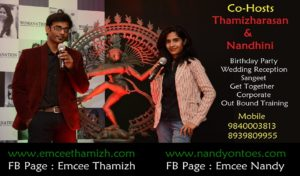 Chennai Co-hosts Event Emcees Thamizh and Nandy Biz Card
