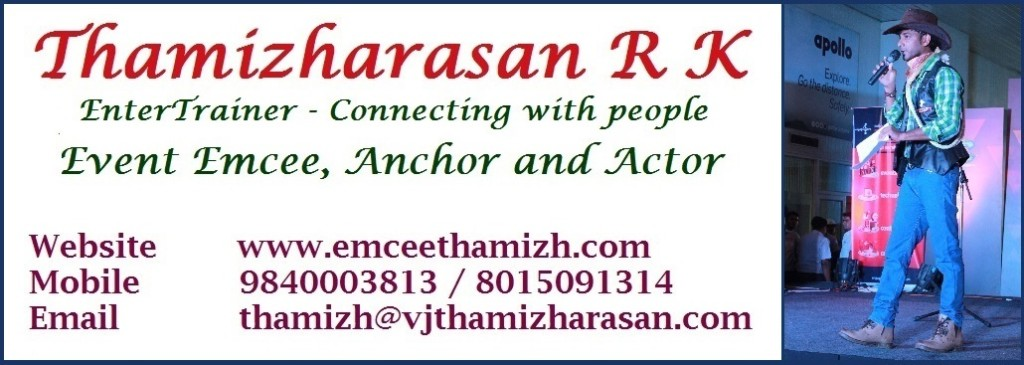 Chennai Male MC Thamizharasan Contact details
