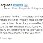 Dave Ferguson's reply to Emcee Thamizharasan's video testimonial