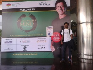 Chennai Emcee Thamizharasan at T Harv Eker's Millionaire Mind Intensive (MMI) Workshop