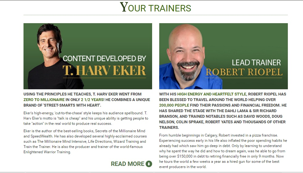 Millionaire Mind Intensive (MMI) Founder T Harv Eker and Lead Trainer Robert Riopel profile