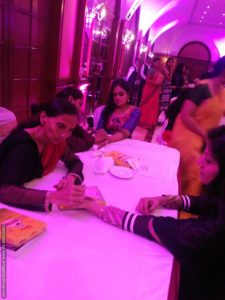Mehndi stall at Sangeet Ceremony organized by Chennai master of ceremonies Thamizharasan and Nandhini