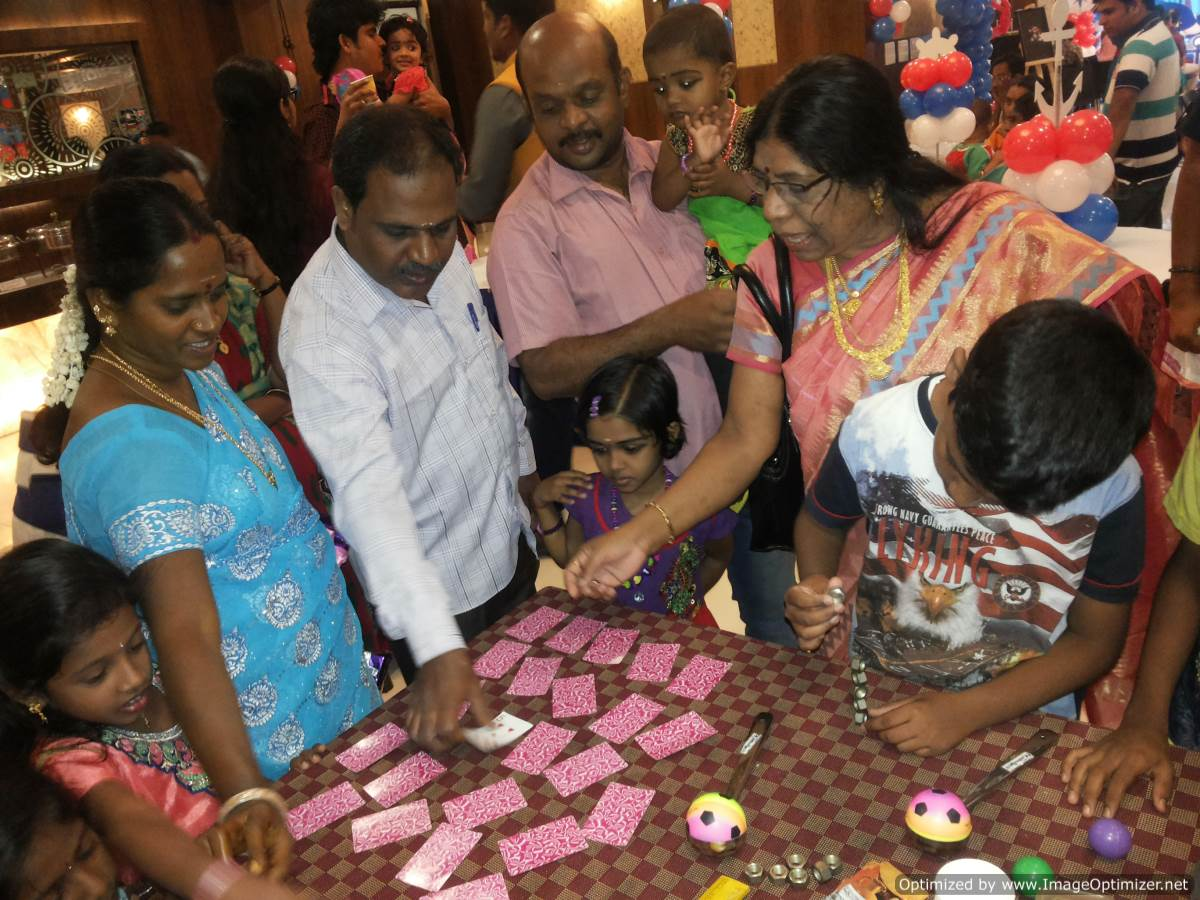 Chennai Master of Ceremonies Thamizharasan conducting Table games at the birthday party