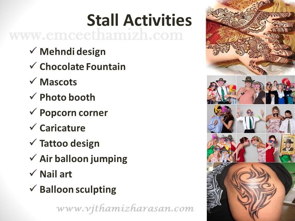 Stall activities list for a birthday party