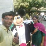 Chennai Event Emcee Thamizharasan and Sumana with Mickey Mouse Mascot Meaning of Event MC