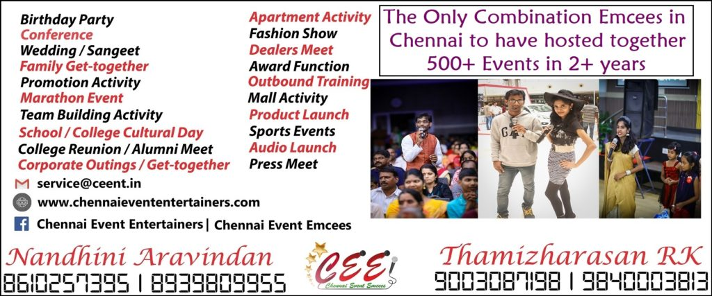 Chennai Event Entertainers Nandhini Aravindan and Thamizharasan Karunakaran