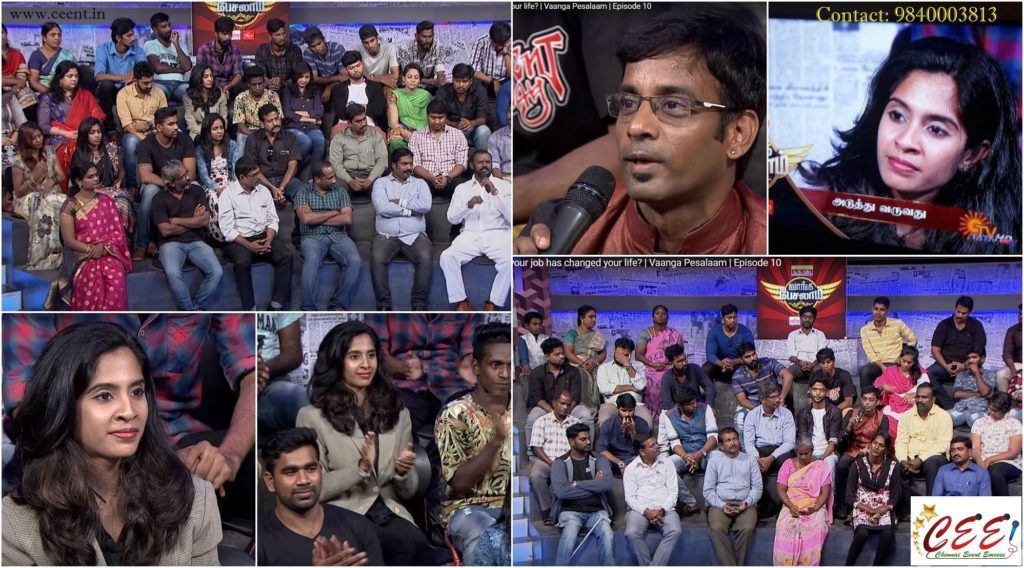 Chennai-Event-Anchors-Thamizharasan-Karunakaran-and-Nandhini-in-Sun-TV-Vaanga-Pesalaam-Talk-Show