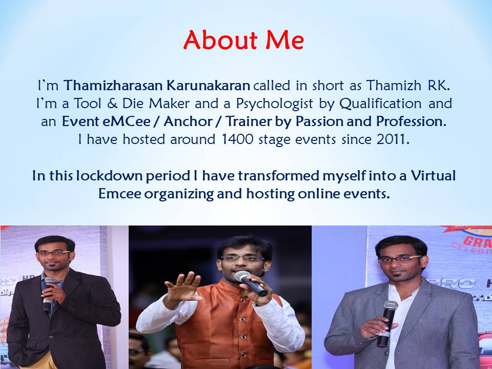 Virtual Emcee Thamizharasan Karunakaran for Corporate Conference Online Events